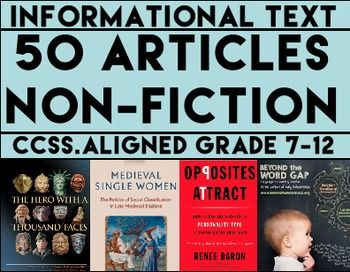 Informational Text Questions: 50 Non-Fiction Articles: Teach Common Core informational Text Reading Skills with 50 non-fiction articles and accompanying text-based questions that students will love! FULL-YEAR'S WORTH OF NON-FICTION READING RESPONSE ACTIVITIES!! - 18 two to three page articles. - 32 half page articles. - All 50 articles have 4 accompanying text-based questions #informationaltext #nonfictiontext #readingresponseactivities