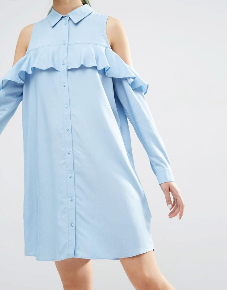 Image 3 ofASOS Cold Shoulder Frill Sleeve Cotton Shirt Dress
