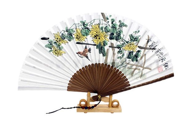Traditional Folding Fan - Ojukseon / Chrysanthemum : Large size