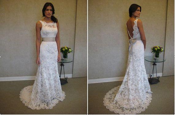 white wedding dress /  V Neckline Lace wedding by sunpeng2011, $359.00