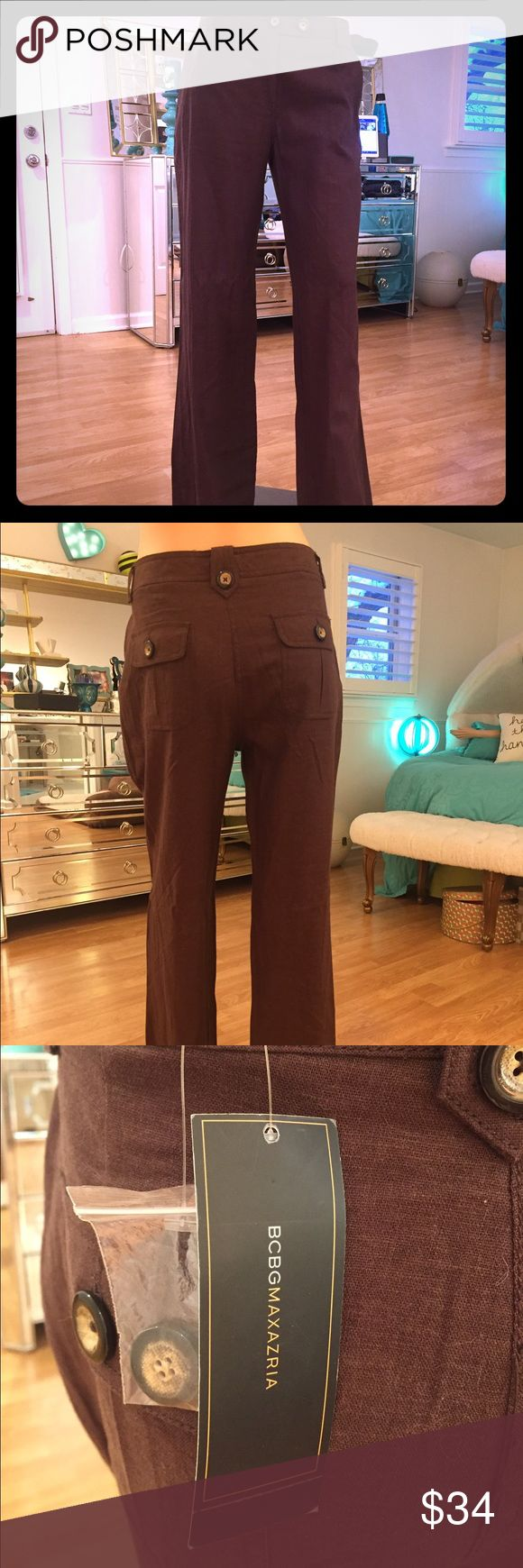BCBG Mocha Brown Linen Pants! Brand NWT! BCBGMaxAzria Pants Trousers
