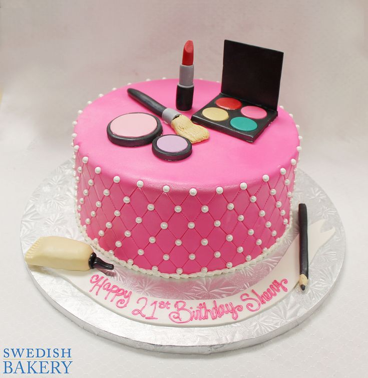 Makeup Party | Single tier, fondant adult celebration cake with fondant quilting and dragees, and fondant makeup figurines.