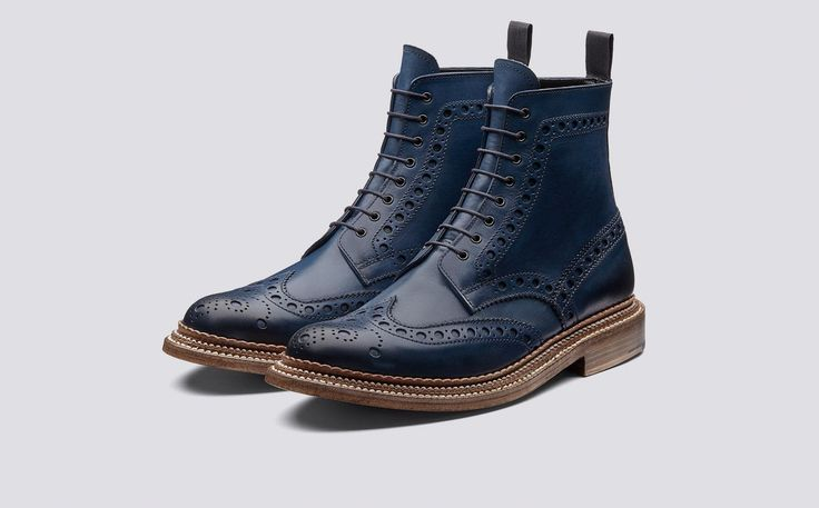 Fred | Mens Brogue Boot in Midnight Hand Painted Calf Leather with a Triple Welt Leather Sole | Grenson Shoes - Three Quarter View