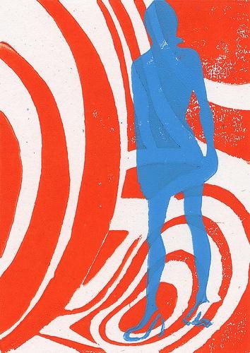 1960s Mod Psychadelic Fashion Plate Woodblock Print by Octavine Illustration, via Flickr