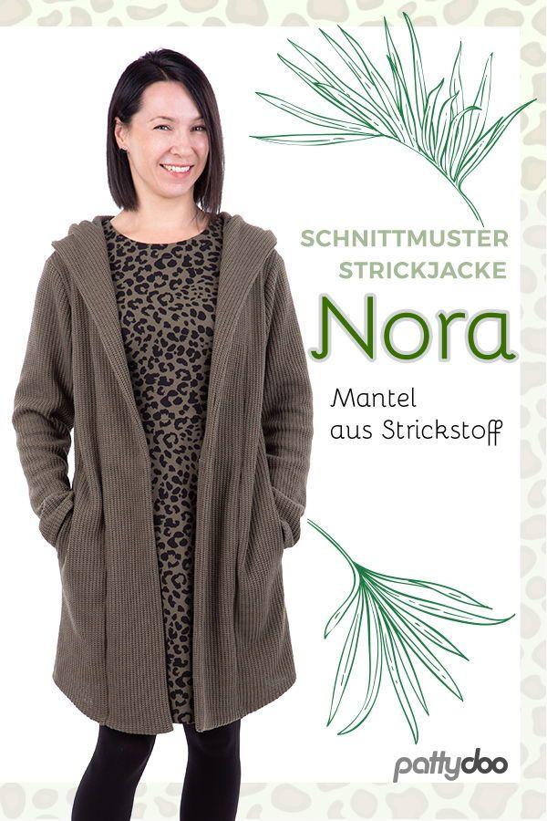 """Schnittmuster für eine lässige Strickjacke """"Nora"""" mit kuscheliger Kapuze. Au …   – Nähen für Frauen"""