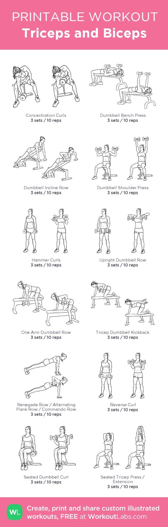 The secret to building sexier biceps for women and men Triceps and Biceps : my custom printable workout by @WorkoutLabs #workoutlabs #customworkout