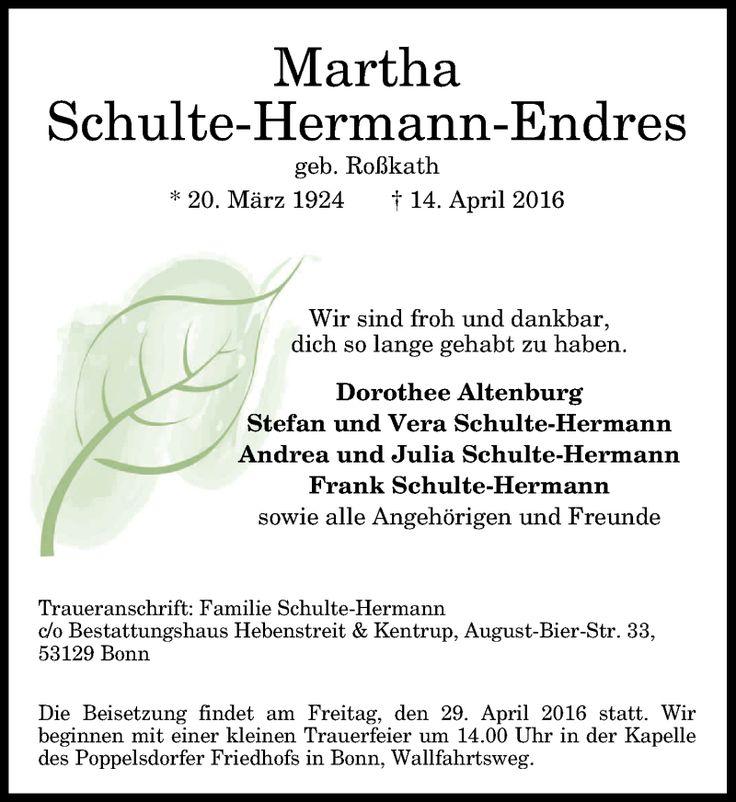 Martha Schulte-Hermann-Endres, Traueranzeige, General-Anzeiger Bonn, Gedenkkerzen, Kondolenzen, Fotos - Martha-Schulte-Hermann-Endres#/Trauerfall