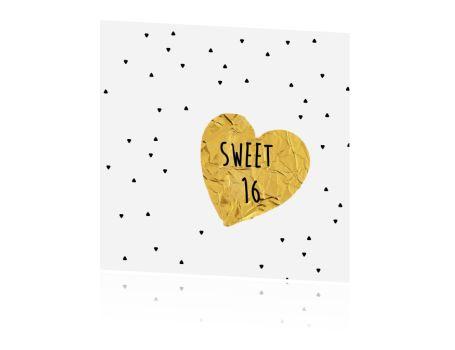 Sweet 16 uitnodiging met hart en driehoekjes