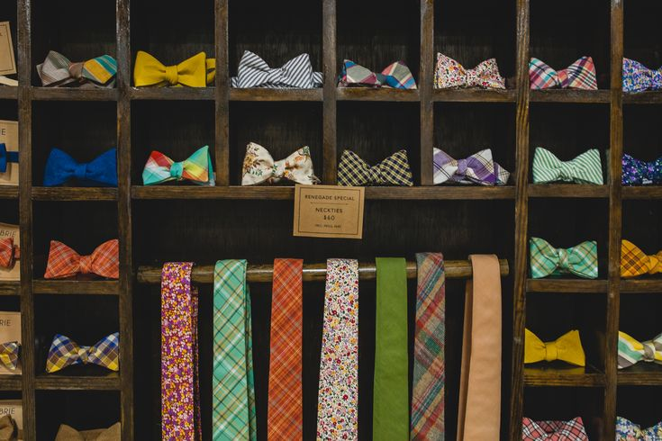 Fox & Brie has this lovely bow tie display and decked her booth out with interesting objects. http://shop.foxandbrie.com