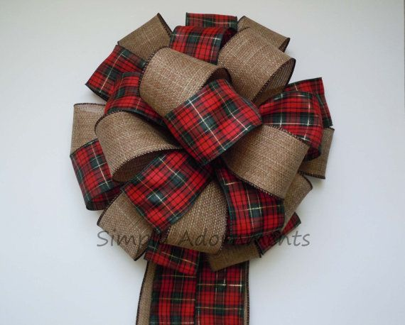 Country Christmas Bow Cottage Red Green Tartan Christmas