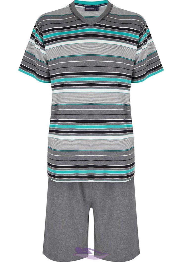 Pastunette for Men light seagreen modern multi-fine striped men's shorty set