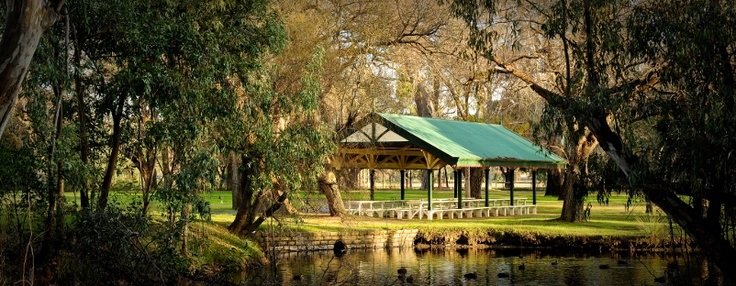 The circa 1900 picnic pavilion and recently reconstructed footbridges will soon be surrounded by an Edwardian style garden. Lush plantings of flowers and ferns will help create the pavilion as a 'destination.' The pavilion was historically located on an island formed by the Bendigo Creek and was accessed via timber footbridges. (Bendigo Botanic Gardens)