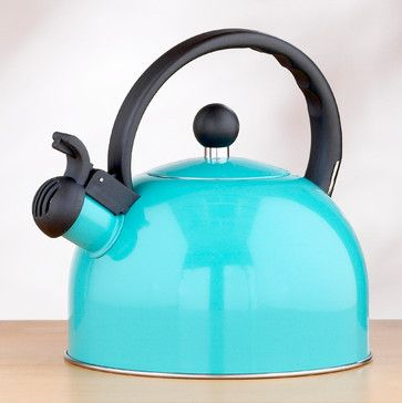 Enamel Teakettle, Aqua contemporary coffee makers and tea kettles