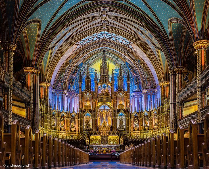 Basilique Notre-Dame Montréal - This church in Vieux-Montréal (Quebec, Canada) was built 1829 and is known as one the most beautiful churches in North America.  This image was made just before the church was closed with a pocket tripod on the floor. It is a single shot without any HDR / blending / Photoshop technique. Just basis development.
