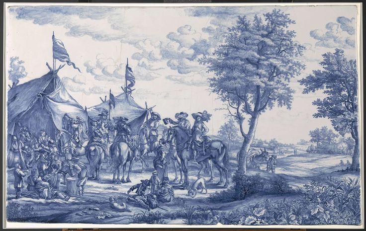 Anonymous | Plaat, beschilderd met een legerkamp, Anonymous, c. 1660 - c. 1675 | Plaat van faience, beschilderd met een legerkamp