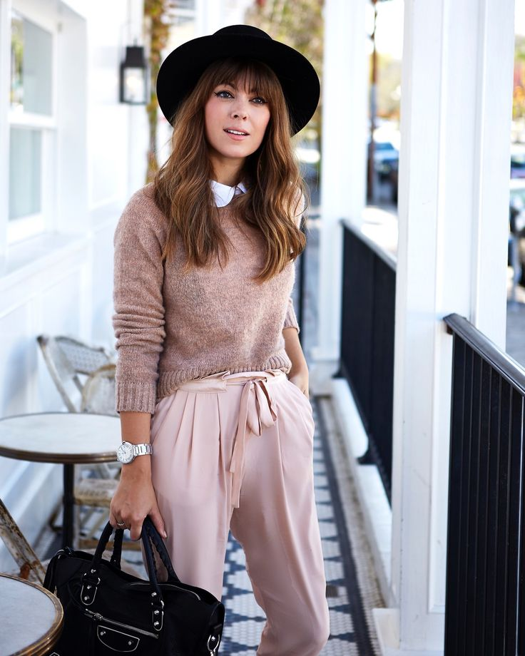What I Wore On Instagram This Month   Margo & Me. White blouse+blush sweater+light blush wide leg pants+black handbag+black hat. Fall Outfit 2016