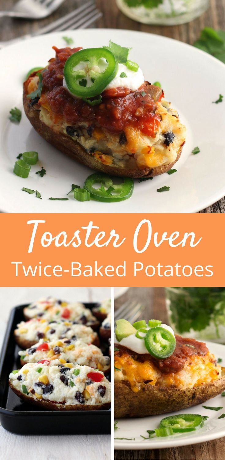 The perfect make-ahead meal, these Southwestern Twice Baked Potatoes taste like a plate of nachos crashed into creamy mashed potatoes. Twice Baked Potatoes | Toaster Oven Cooking | Potato Recipes