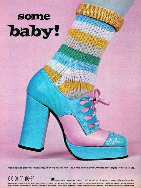 """""""Some Baby!"""" Shoes, 1973.  When you wear shoes like these there's no point going for understated socks."""