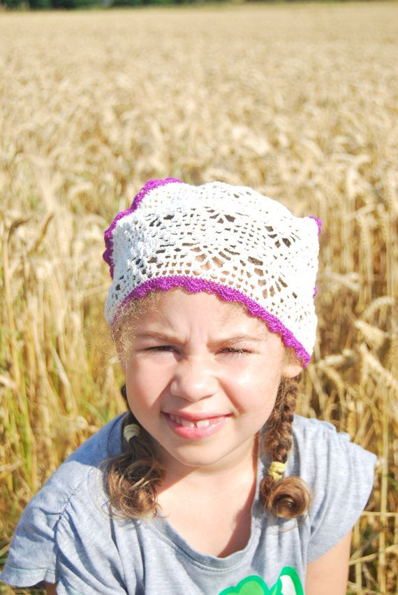 handmade crochet hair scarf for girl bandana hair by EzicArts
