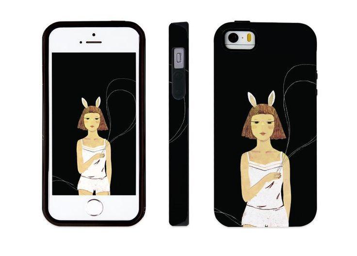 "iphone 5 5s illust designed case, ""a rabbit"" made in korea, hardcase #astep"
