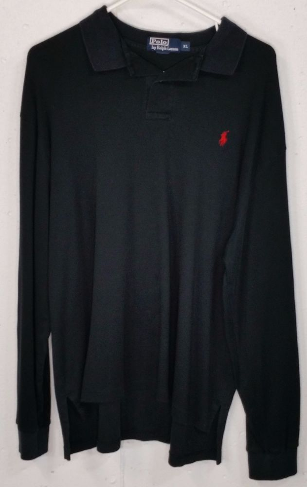 Polo Ralph Lauren Mens Black SOFT 100% Cotton Long Sleeve Polo Shirt XL Red Pony #PoloRalphLauren #PoloRugby