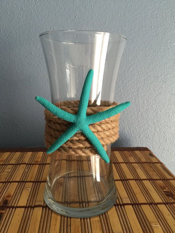 Wedding Centerpiece * Beach Party Centerpiece * Glass Vase with Rope and Turquoise Starfish