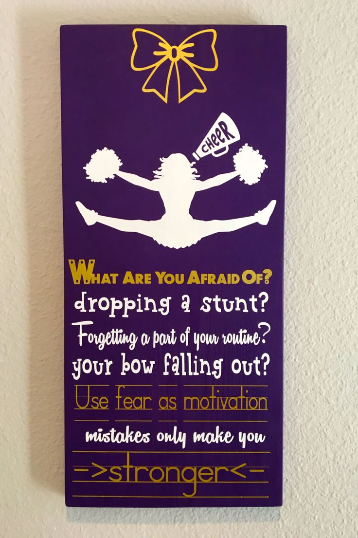 Cheerleading Sign Decor, Inspirational Quote, What are you afraid of, Dropping a stunt Your bow falling out, Mistakes only make you stronger - pinned by pin4etsy.com