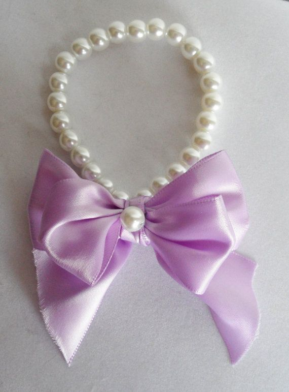 White Pearl Pet Collar with Lavender Double by KATcustomDESIGNS, $10.00