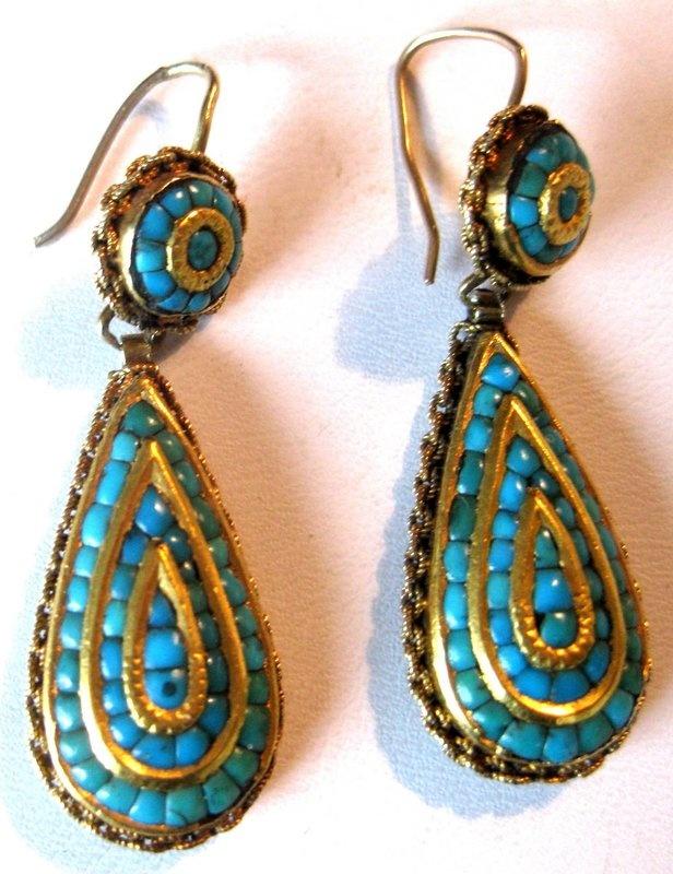 Georgian Era Turquoise & Gold Earrings Circa. 1800Women Fashion, Woman Fashion, Georgian Turquoise, Earrings Circa, Era Turquoise, 1800, Turquoise Gold, Gold Earrings, Georgian Era