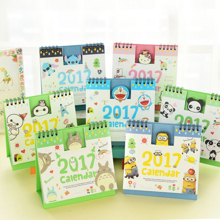 2017 Secuaces Hello Kitty Baymax Panda Totoro Lindo de la Historieta Oficina Escritorio Calendario De La Tabla de Impresión de Pie Para 2017 Programa Planificador