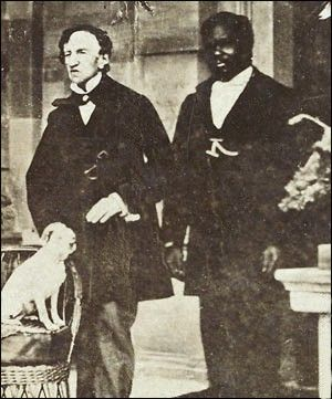 Dr. James Barry, left, with his manservant John, and Barry's dog Psyche, circa 1862. Dr. Barry served as a military surgeon in the British Army for fifty years. Upon his death on July 22, 1865 it was discovered that he was a woman.