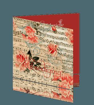Uitnodiging 12,5 jaar feest met symfonie en muzieknoten. #jubileumkaarten #huwelijkskaarten