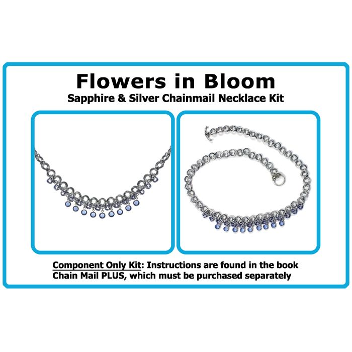 Kit for Flowers in Bloom Chainmail Necklace - Sapphire Blue & Silver