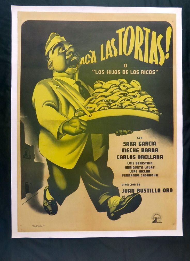 """ERNESTO GARCIA CABRAL   """"ACA LAS TORTAS""""  POSTER ON LINEN 1951"""