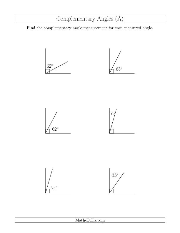 Complementary Angle Relationships (A) *New 2013-07-17 ...