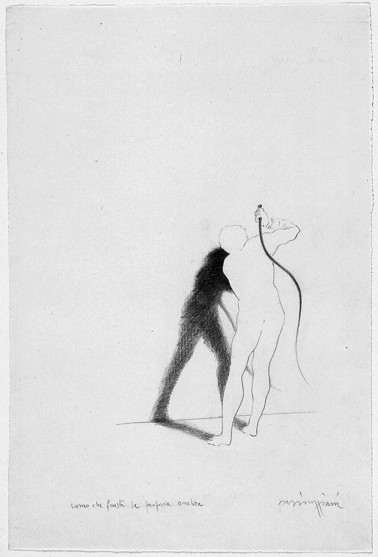 Claudio Parmiggiani, 1943 Uomo che frusta la propria ombra, 1983 matita su carta, 40,5 x 27 cm.  Galleria civica di Modena