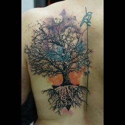 baum aquarell federico paz tattoo wiesbaden