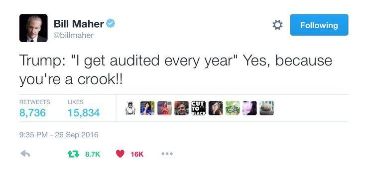 Funniest Presidential Debate Memes: Bill Maher on Trump Being Audited