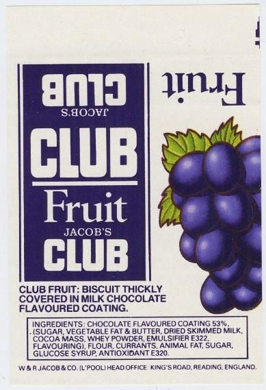 Jacob's Fruit Club biscuit wrapper from the 80s