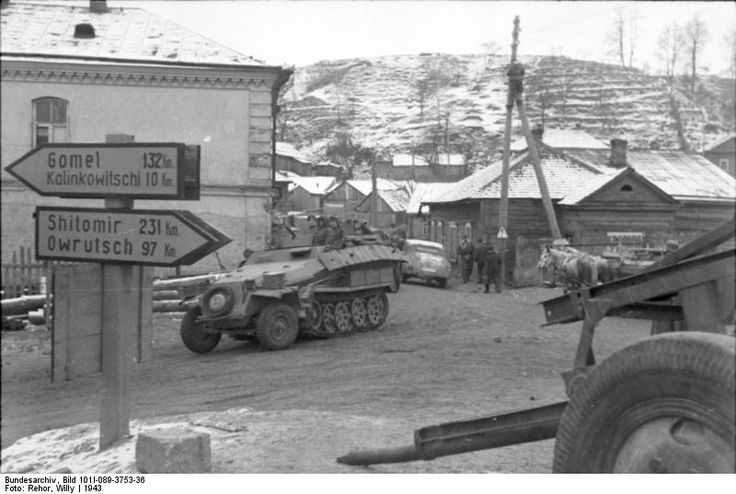 SdKfz. 251/7 halftrack vehicle in Kalinkowitschi, Byelorussia, 1943 Photographer Willy Rehor Source German Federal Archive Identification Code Bild 101I-089-3753-36 Added By C. Peter Chen