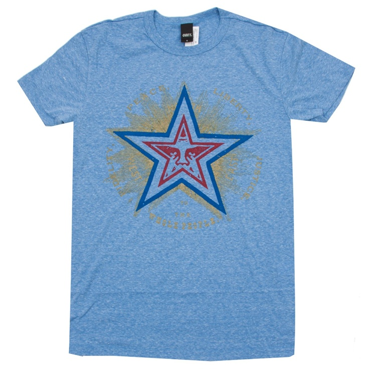 OBEY Fidelity Star tee-shirt heather blue - heather grey 39€ #OBEY #tee #tshirt #tees #tshirts #skate #obama #skateboard #skateboarding