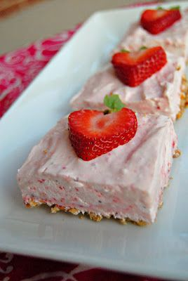 Strawberry Margarita Squares...... pretzel crust with pureed strawberries, sweetened condensed milk, lime juice and Cool Whip