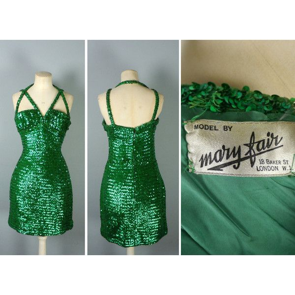60s green SEQUIN dress with strappy CAGE bust pinup BURLESQUE sparkly... (550 DKK) ❤ liked on Polyvore featuring dresses, halter tops, petite dresses, bodycon dress, sequin bodycon dress and body con dress