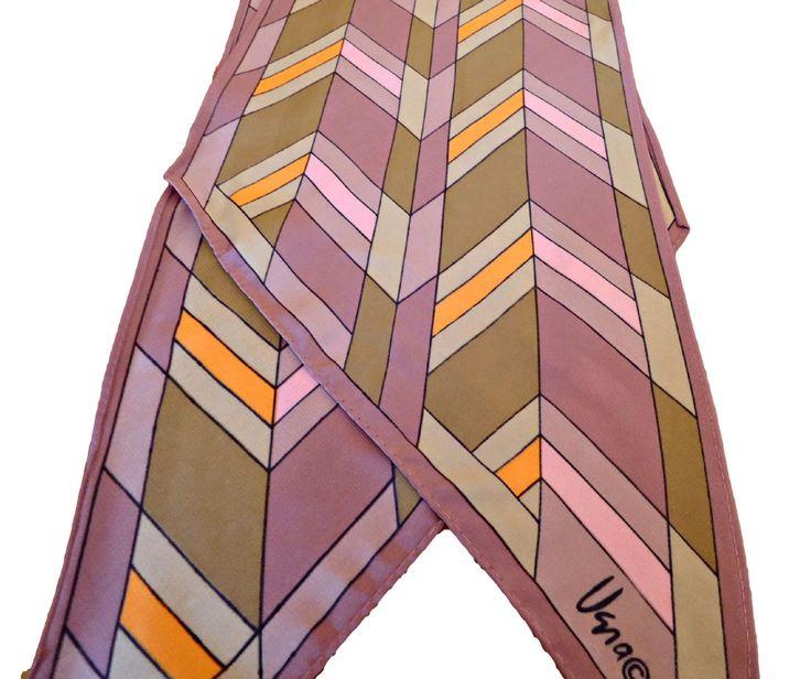 Vintage Scarf Vera Neumann Designer Scarf Mauve Tan Orange Chevron Women's Scraves   D31 by treasurecoveally on Etsy