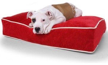 Jaxx Rectangle Dog Bed, Microsuede Cinnabar transitional-pet-beds