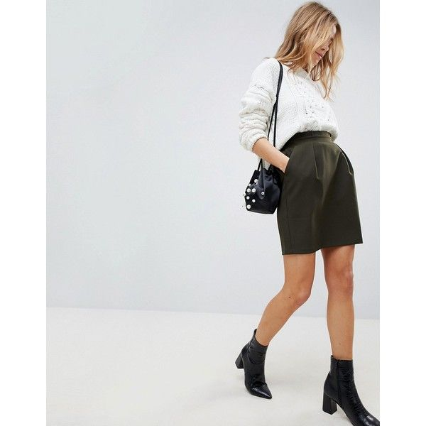 ASOS Tailored Ruffle Paperbag Waist A-Line Mini Skirt ($39) ❤ liked on Polyvore featuring skirts, mini skirts, green, green high waisted skirt, ruffled skirt, ruffle mini skirt, a-line skirts and a line mini skirt