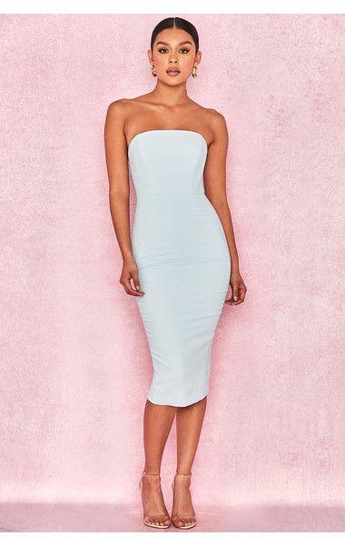 0f6677705e1b Clothing   Bodycon Dresses    Isabella  Light Blue Strapless Crepe Dress