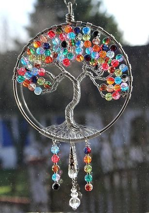 """Arbre de vie suncatcher en perles de verre craquées bicolores et multicolores - Modèle """"L'arbre magique"""""""