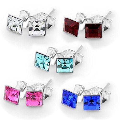 Piercing-Schmuck 5 Paar Pack von 3MM quadratisch Set Birthstone 925 Sterling Silber Ohrstecker - http://schmuckhaus.online/chennai-jewellery/piercing-schmuck-5-paar-pack-von-3mm-quadratisch