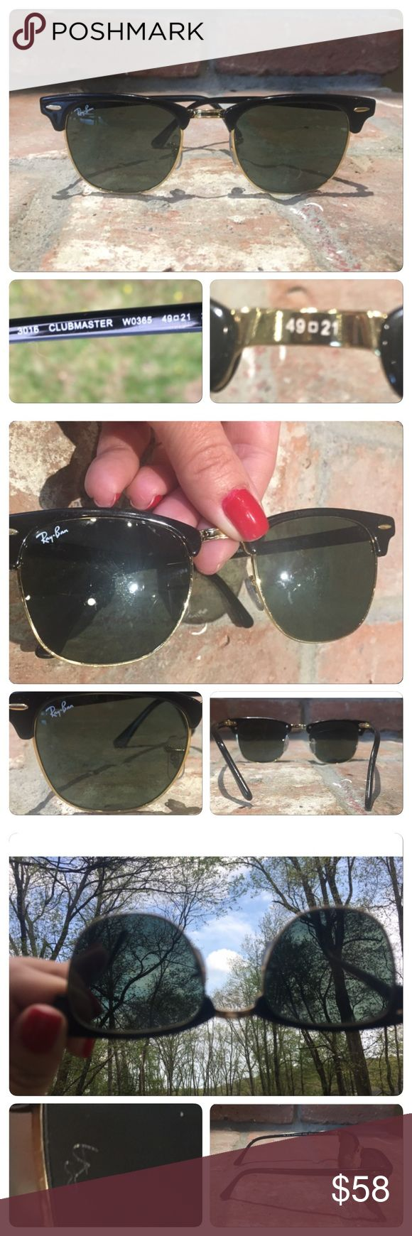 Vtg 80s Ray Ban black club master sunglasses Vintage 80s Ray Ban sunglasses  ray m  club master half frame sunglasses black gold. No cracks in frames. Some slight  scratches to lens from age. Lens Engraved with RB ..Stamped and engraved at nose 49 21  No Case. Vintage Accessories Sunglasses